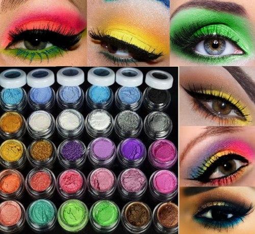 Разноцветные минеральные тени для век