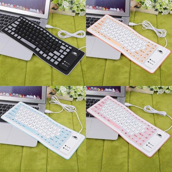 Гибкая мягкая силиконовая клавиатура USB для ПК